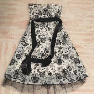 Small black and white dress.
